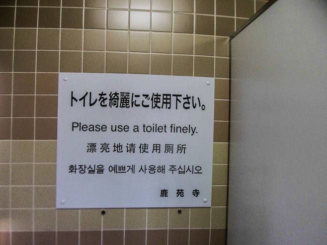 "(Engrish) ""Please use a toilet finely."""